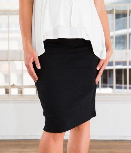 Amor & Grace Tube Midi Black Maternity Skirt-Front