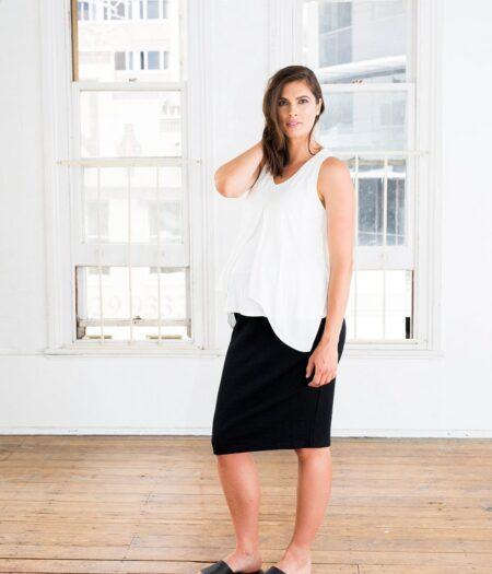 Amor & Grace Tube Midi Black Maternity Skirt-Side