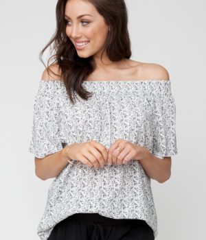Plantation Cold Shoulder Top S6078 BW01