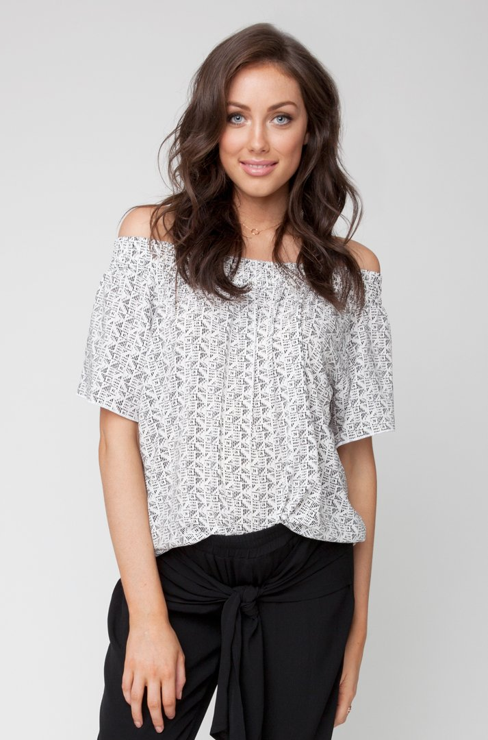 Plantation Cold Shoulder Top S6078 BW04