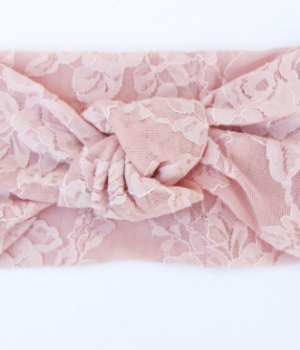 Dusty Pink Lace Knotted Turban Headband – Extra Wide