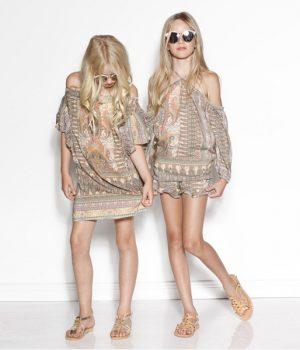 marlo mystic off shoulder dress on girls x 2