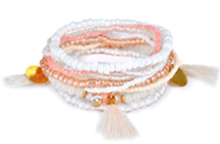 Jewel & Tassel Bracelet Set Metallic White