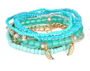 Jewelled Feather Bracelet Blue