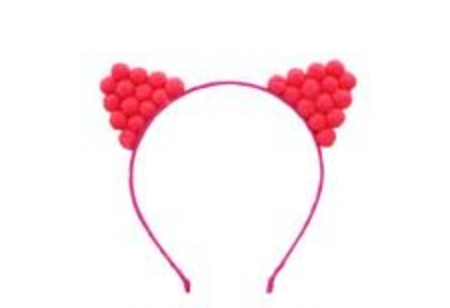 Pom Pom Kitty Headband Bright Pink