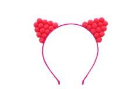 Pom Pom Kitty Headband Bright Pink