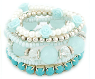 Rose & Bead Bracelet Set Blue
