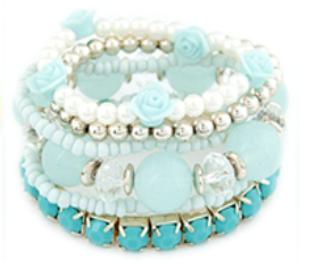 Rose & Bead Bracelet Set Blue