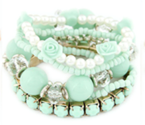 Rose & Bead Bracelet Set Mint