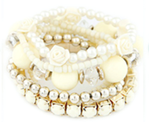 Rose & Bead Bracelet Set cream