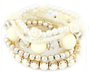 Rose & Bead Bracelet Set cream