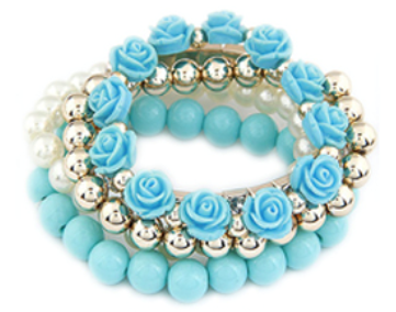 Sweet Rose Bracelet Set Blue