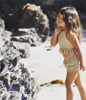 cinta child halter & shorts khaki