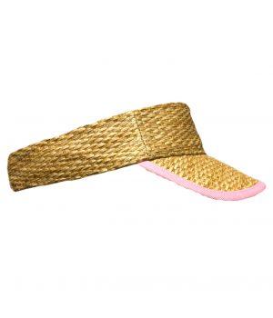 EH17-TVGNP50_Thatched_visor_girls_natural_pink_summer_hat_headwear_beach