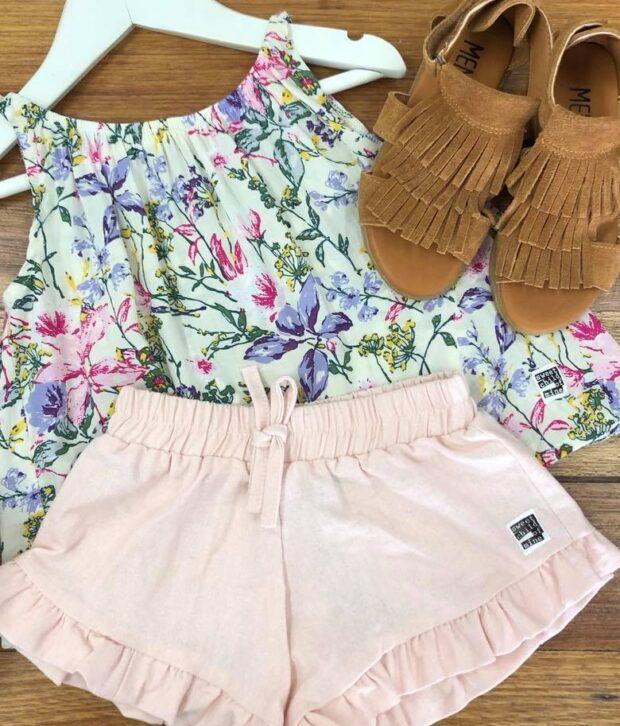 scom pink linen shorts