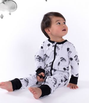 Aster & Oak Mono Cloud 2 Way Zip Romper