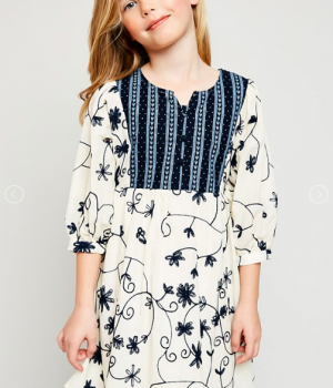 Floral Embroidered Dress Tunic Dress