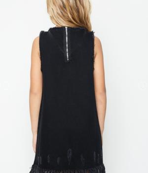 Frayed Hem Shift Dress Black Denim2