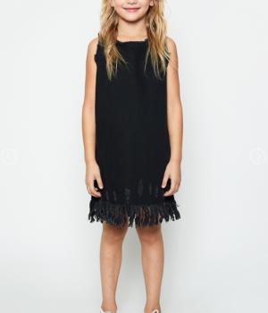 Frayed Hem Shift Dress Black Denim3