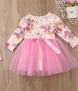 Pink Floral Tutu Dress Back