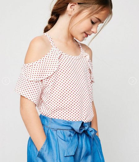Polka Dot Ruffled Tunic Top