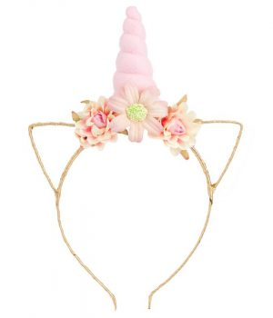unicorn floral headband pink