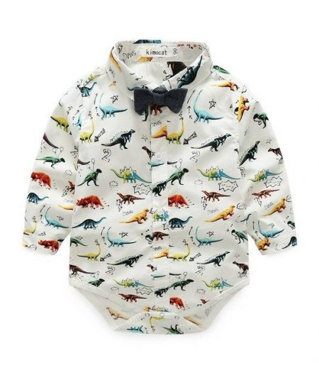 Dinosaur Shirt Romper with Bow Tie