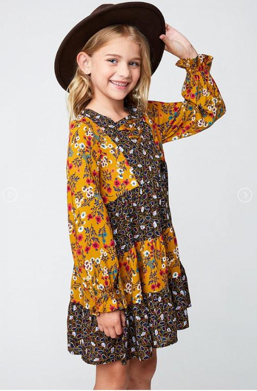 Mustard Floral Tiered Dress 1