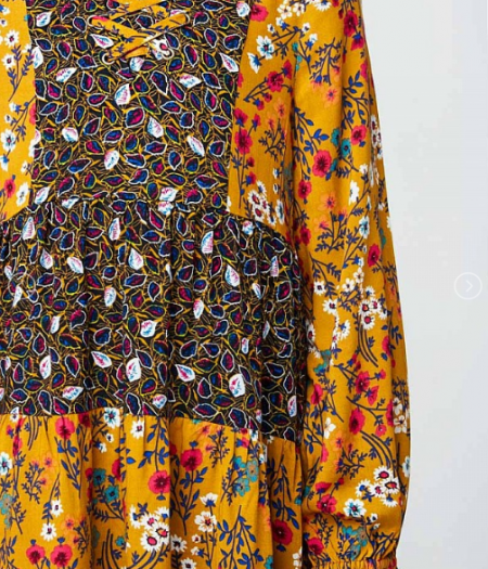 Mustard Floral Tiered Dress 21