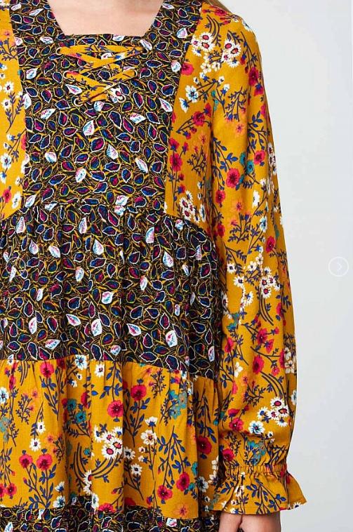 Mustard Floral Tiered Dress 21