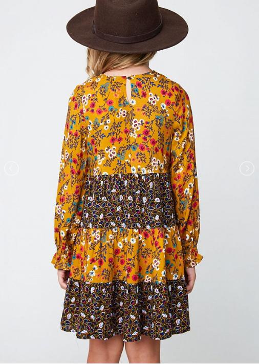Mustard Floral Tiered Dress 3