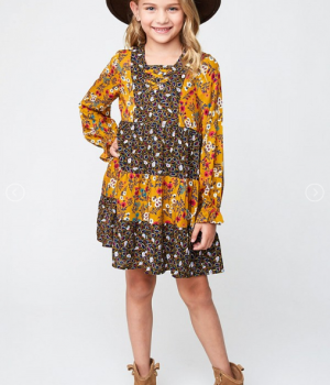Mustard Floral Tiered Dress 4