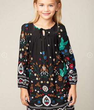 Printed Peasant Dress