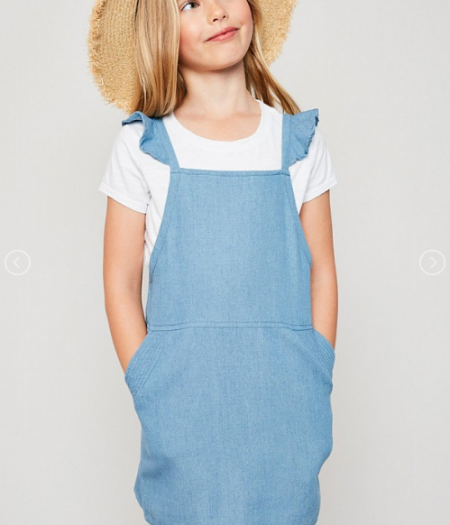 Ruffle Denim Cross Back Dress