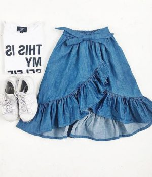 Ruffle Denim Skirt 2