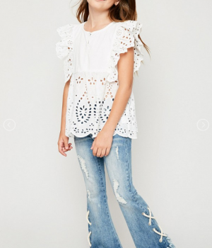 Ruffle Neck Eyeley Detailed Pullover top White3
