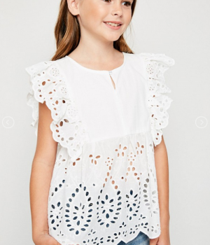 Ruffle Neck Eyeley Detailed Pullover top White4