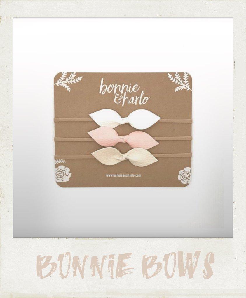 bonnie & harlo 3 pack bows pink white cream