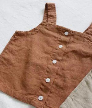 linen top brown buttons