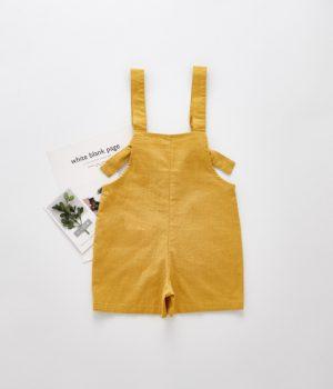Linen Overalls Mustard Back 1