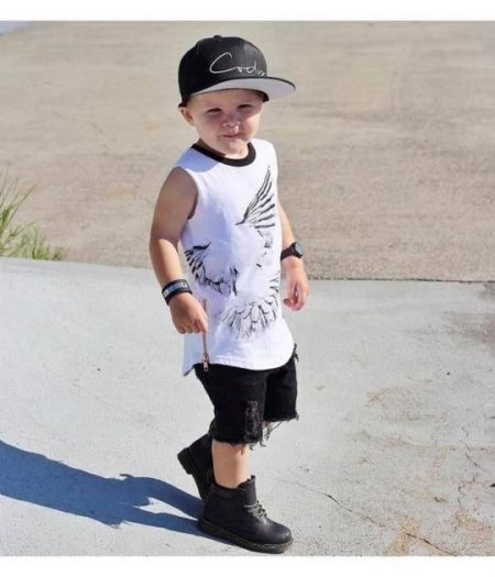 denim distressed shorts black on boy
