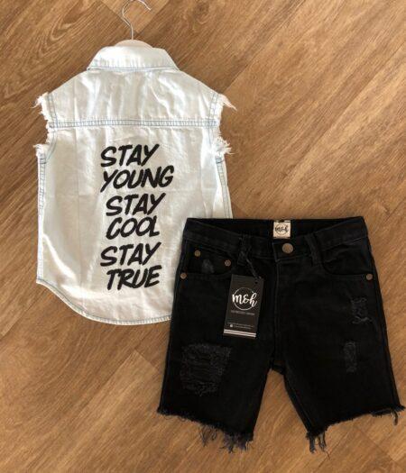 denim distressed shorts boys black