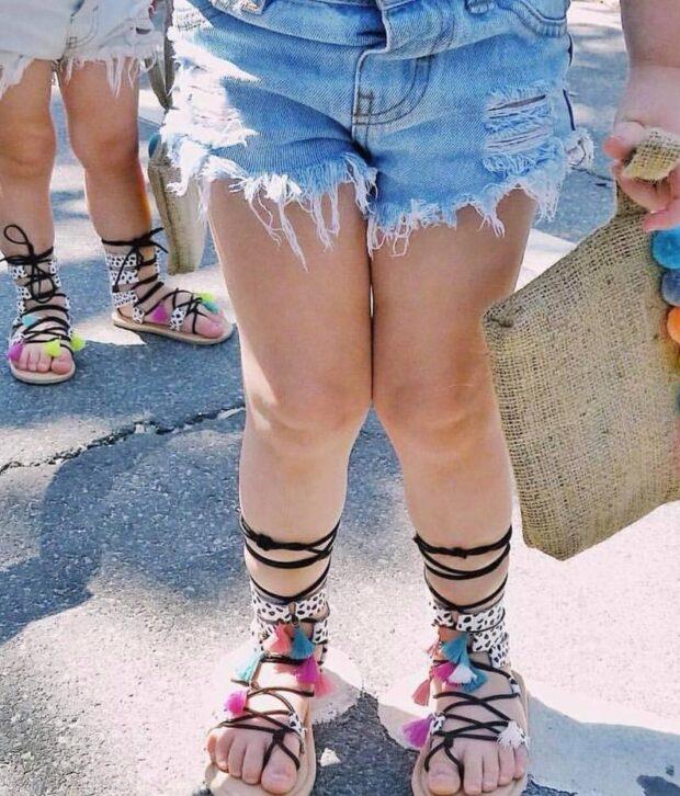 denim distressed shorts light on girl