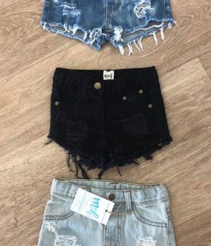 denim distressed shorts x 3