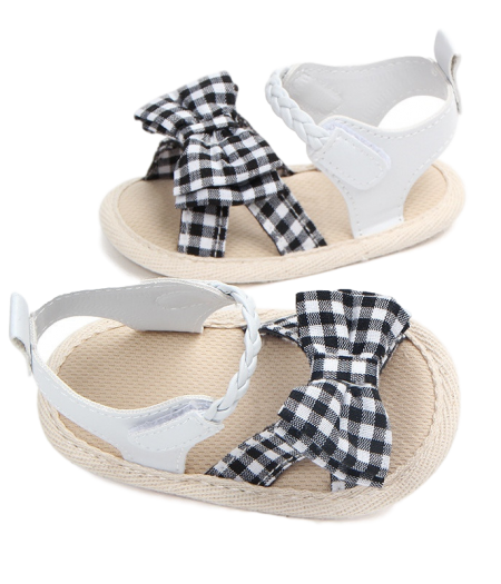 Prewalker BAby Shoes – White with Black & White Gingham_1