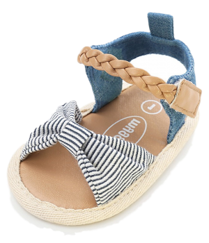 Prewalker Baby Shoes – Tan with Blue and White Stripe Bow__1