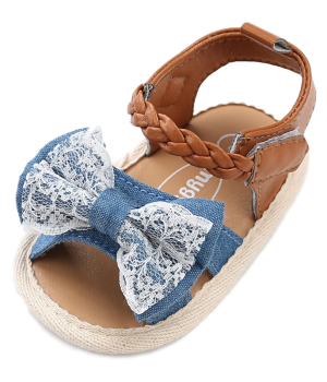 Prewalker Baby Shoes – Tan with Denim & Lace Bow_ (1)