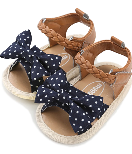 Prewalker Baby Shoes – Tan with Navy White Spot Bow2_1