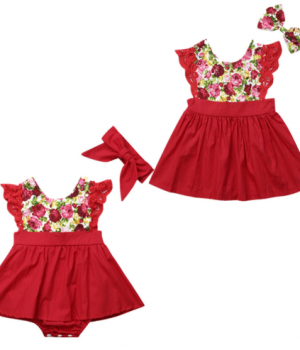 Christmas Flutter Sleeve Romper & Dress1