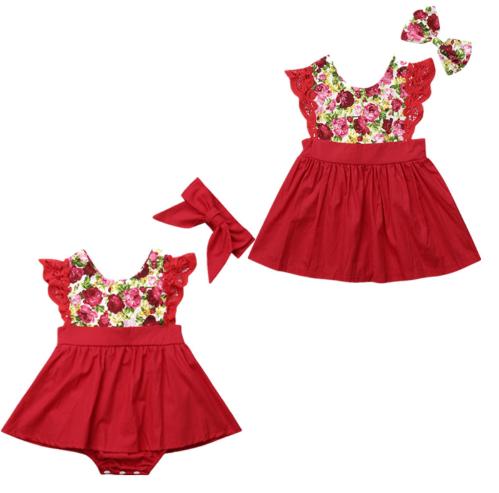Christmas Flutter Sleeve Romper & Dress1